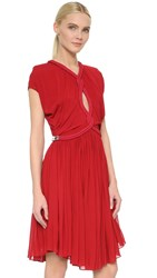 Jay Ahr Twist Cap Sleeve Dress Red