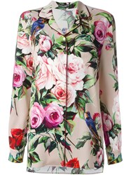 Dolce And Gabbana Rose Print Pyjama Shirt Pink And Purple