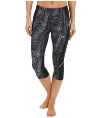 New Balance Printed Accelerate Capri Pants Black Grey Black Women's Capri