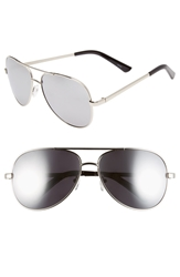 Icon Eyewear 'Oliver' 56Mm Aviator Sunglasses Silver Smoke