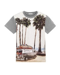 Moncler Short Sleeve Cotton Beach Tee Gray Size 8 14 Size 12