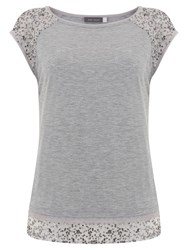 Mint Velvet Layered Sequin T Shirt Silver