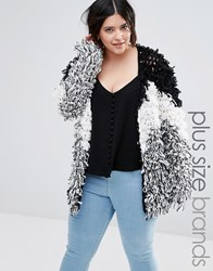 Alice And You Shaggy Knit Cardigan Multi