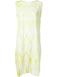 Issey Miyake Loose Dress With Yellow Dye Pattern White