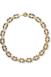 Noir Circling Gold Plated Enamel Necklace Metallic