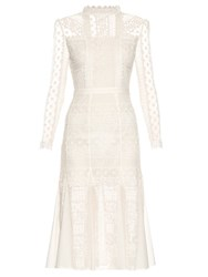 Temperley London Desdemona Long Sleeved Lace Midi Dress White