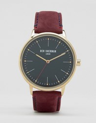 Ben Sherman Burgundy Leather Watch Brown