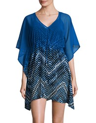 Calvin Klein Drawstring V Neck Kaftan Dress Blue