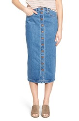 Women's Madewell Button Front Denim Midi Skirt