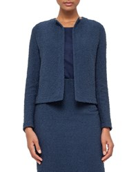 Akris Eden Cropped Boucle Jacket Blue Jay Bluejay