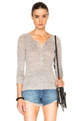Frame Denim Le Henley Raglan Tee In Gray