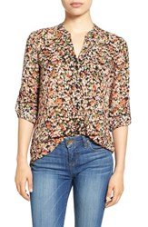 Kut From The Kloth Women's 'Jasmine' Print Roll Sleeve Blouse Blue Brulee Green