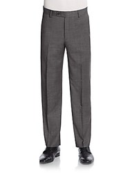 Saks Fifth Avenue Straight Leg Wool Trousers Charcoal