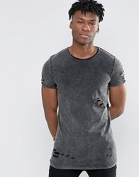 Asos Longline Muscle T Shirt With Acid Wash In Grey Acid Wash Grey