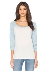 Michael Lauren Elroy Long Sleeve Contrast Crop Tee White