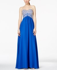 Betsy And Adam Beaded Chiffon Strapless Gown Royal