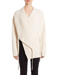 Proenza Schouler Stretch Wool And Cashmere Wrap Cardigan Off White Black