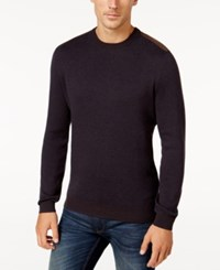 Tasso Elba Men's Faux Suede Trim Sweater Only At Macy's Navy Combo