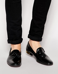 Asos Tassel Loafers In Patent Leather Black