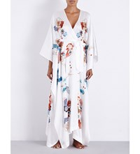 Meng Floral Print Draped Silk Satin Kimono White Placement