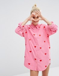 Lazy Oaf Oversized Boyfriend Shirt With Hearts In Corduroy Pink