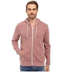 Threads For Thought Triblend Zip Front Hoodie Brick Red Men's Sweatshirt