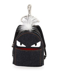 Fendi Monster Denim Backpack Charm W Fur Blue