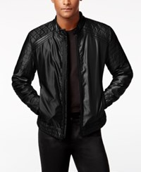 Guess Men's Victor Casual Quilted Jacket Jet Black Multi