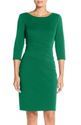 Ellen Tracy Women's Seamed Ponte Sheath Dress Emerald