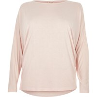River Island Womens Plus Light Pink Batwing Top
