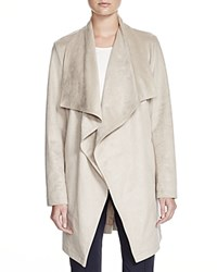 Basler Faux Suede Draped Long Jacket Light Taupe