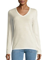 Lord And Taylor Merino Wool V Neck Sweater Ivory