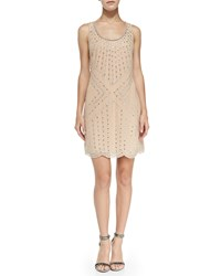 Phoebe Couture Beaded Pattern Shift Cocktail Dress Champagne