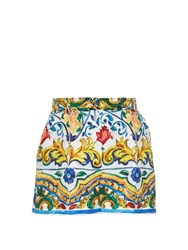 Dolce And Gabbana Majolica Print Floral Brocade Shorts White Multi