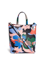 Emilio Pucci Floral Print Saffiano Leather Shopper Tote Multi Colour