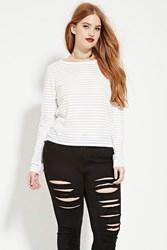 Forever 21 Plus Size Shadow Stripe Top White