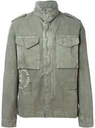 Off White Funnel Neck Military Jacket