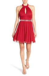Speechless Women's Lace Halter Fit And Flare Dress