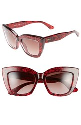 Women's Valentino 'Lace' 51Mm Cat Eye Sunglasses Red Lace