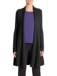 Armani Collezioni Raised Cable Knit Open Cardigan Black