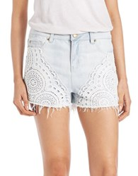 Design Lab Lord And Taylor Crochet Panel Denim Shorts Light Wash
