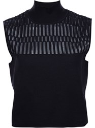 Thierry Mugler Mugler Cropped Knit Top Black