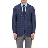 Kiton Men's Plaid Cashmere Silk Two Button Sportcoat Blue