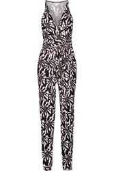 Issa Rubell Printed Jersey Jumpsuit Black