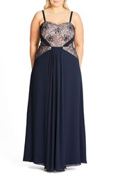 City Chic Plus Size Women's 'Sofia' Lace Bodice Strapless Gown Navy