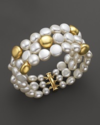 Bloomingdale's Triple Row Cultured Freshwater Pearl Bracelet In 18K Yellow Gold White
