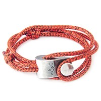 Anchor And Crew Falmouth Rope And Silver Bracelet Red Noir