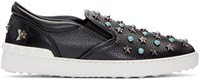 Valentino Black Stone And Stars Slip On Sneakers
