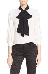 Alice Olivia Women's 'Treena' Contrast Bow Stretch Silk Blouse Off White Black