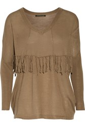 W118 By Walter Baker Adele Fringed Ribbed Knit Sweater Brown